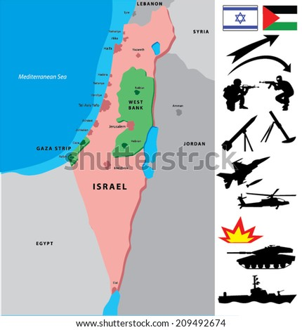 Israel map with a collection of war silhouettes. Middle East conflicts. - stock vector