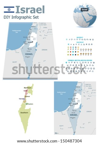 Israel maps with markers - stock vector