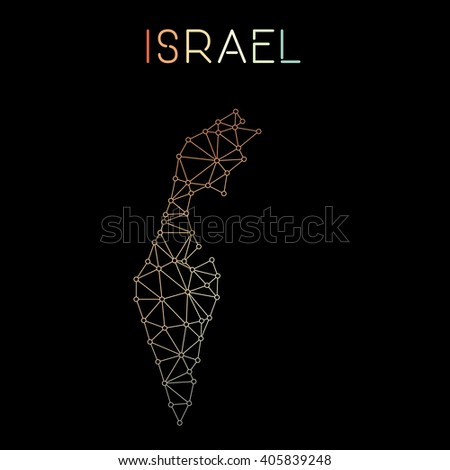 Israel network map. Abstract polygonal map design. Network connections vector illustration. - stock vector