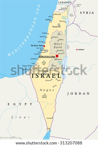 Israel political map with capital Jerusalem, national borders, important cities, rivers and lakes. English labeling and scaling. Illustration. - stock vector