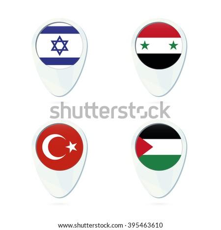 Israel, Syria, Turkey, Palestine flag location map pin icon. Israel Flag, Syria Flag, Turkey Flag, Palestine Flag. Vector Illustration. - stock vector