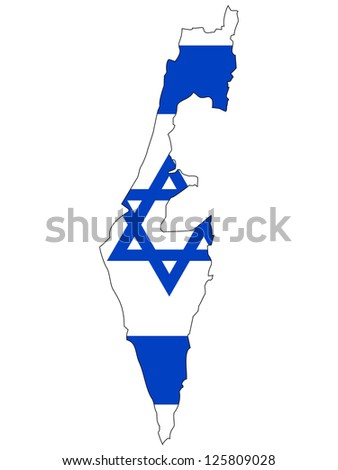 Israel vector map with the flag inside. - stock vector