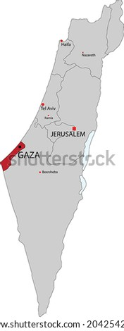 Israel vector map with the Gaza strip highlighted.