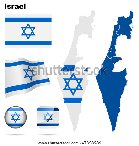 Israel  vector set. Detailed country shape with region borders, flags and icons isolated on white background. - stock vector