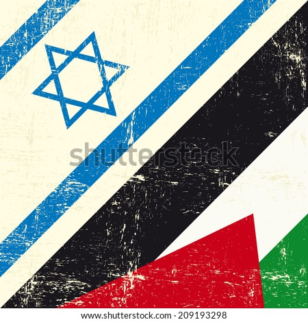 Israeli and palestinian grunge Flag. this flag represents the relationship  between Palestine and Israel