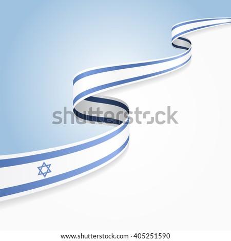 Israeli flag wavy abstract background. Vector illustration. - stock vector