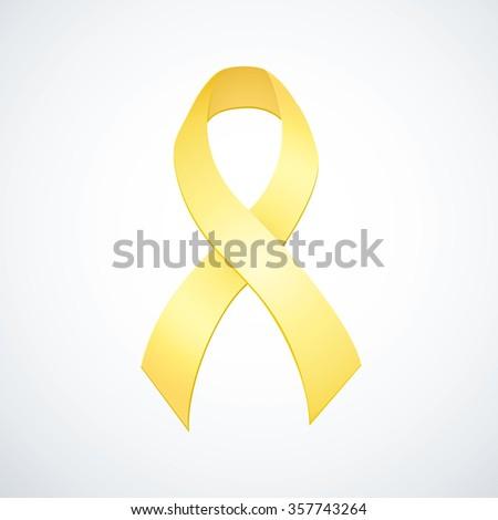 Issue logo icon symbolic concept association of spinal bifida, bladder, os tumor, osteosarcoma, endometriosis, craniofacial acceptance. International fund trophy silk pale golden bow isolated on white - stock vector