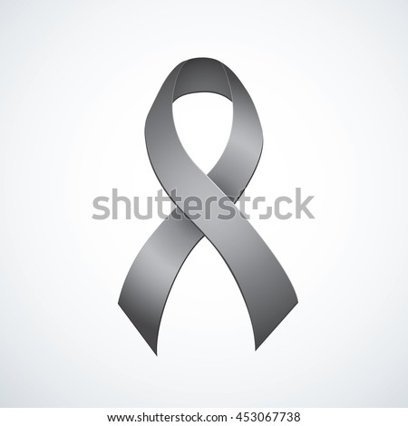 Issue logo symbolic concept of problems of violence, melanoma, metabolic DM, cerebrum tumor. Global world fund pin magnet. Black color silk bow tape icon emblem with space for text on white background - stock vector