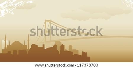istanbul abstract skyline - stock vector