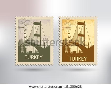 Istanbul and the Bosphorus Bridge - stock vector
