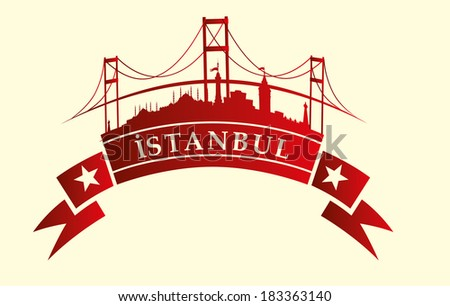 istanbul city ribbon banner  vector art - stock vector