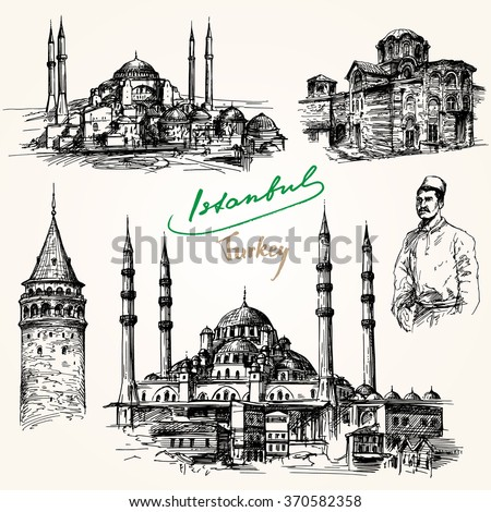 Istanbul. Hand drawn collection. - stock vector
