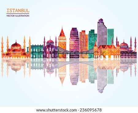 Istanbul skyline detailed silhouette. Vector illustration - stock vector