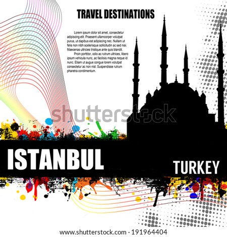 Istanbul , vintage travel destination grunge poster with colored splash and space for your text, vector illustration - stock vector