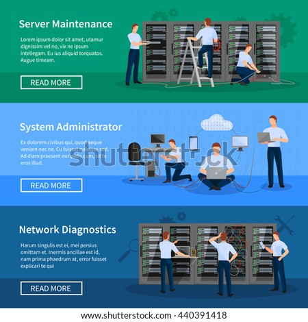 IT administrator horizontal banners with network engineers working in server room for hardware diagnostic flat vector illustration - stock vector