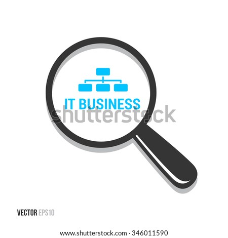 IT Business Magnifying Glass - stock vector