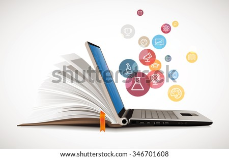 IT Communication - e-learning - internet network as knowledge base - stock vector