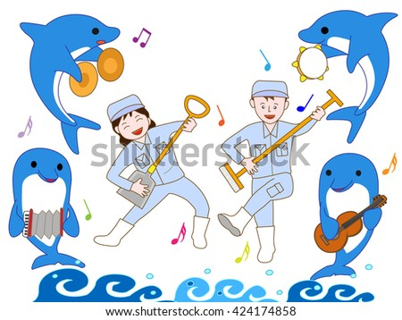 It is a concert of a dolphin and the staff in an aquarium. - stock vector