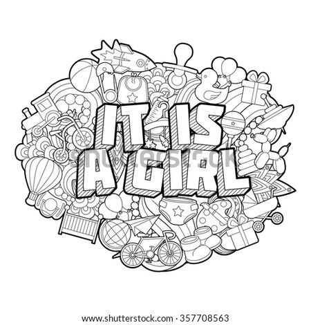 It Is A Girl - Hand Lettering and Doodles Elements Sketch. 