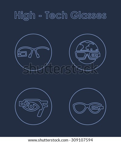 It is a set of high-tech glasses simple web icons - stock vector