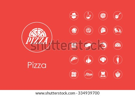 It is a set of pizza simple web icons - stock vector