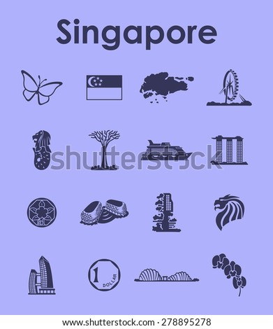 It is a set of Singapore simple web icons - stock vector