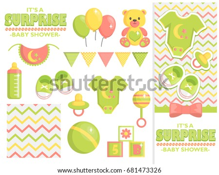 Surprise Baby Shower Items Collection Party Stock Vector 681473326