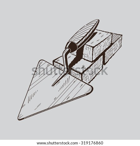 It is monochrome vector illustration of trowel. - stock vector