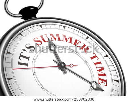 It is summer time concept clock isolated on white background - stock vector