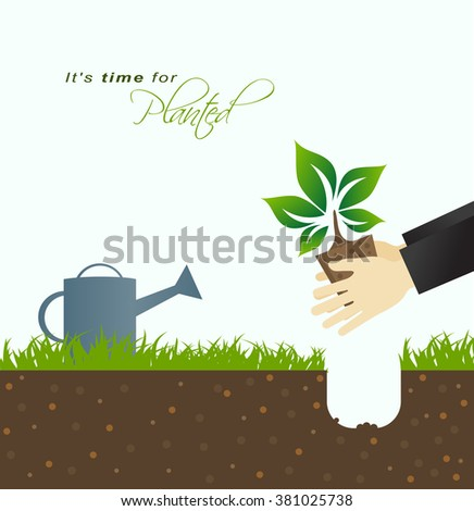 It is time for planting.Farmer planting in the ground with green grass and watering can in background - stock vector