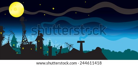 It must be Cheese.few mice try to reach the moon,because they think it's cheese. funny night scene horizontal illustration  - stock vector