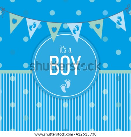 It's a boy. Baby shower celebration.  - stock vector