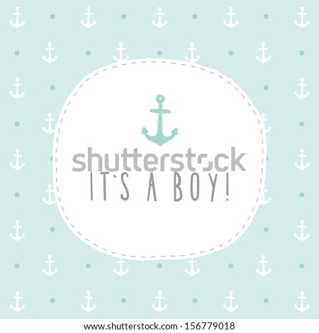 It's a boy vector hand drawn card - stock vector