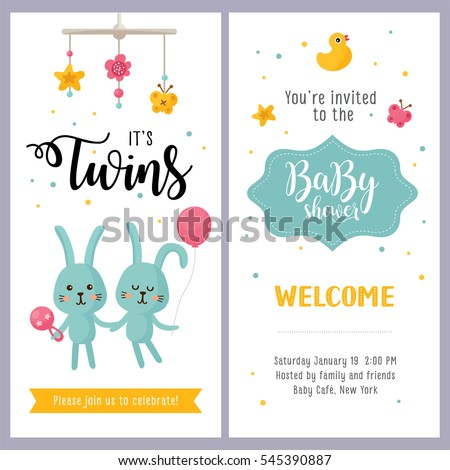 Twin babies stock images royalty free images vectors shutterstock newborn twins sleeping its a twins baby shower card set invitation template with hand lettering and cute stopboris Choice Image
