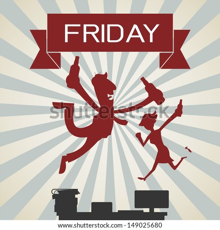 It's Friday! Silhouetted of happy business people enjoying weekend at office. Vector illustration.  - stock vector