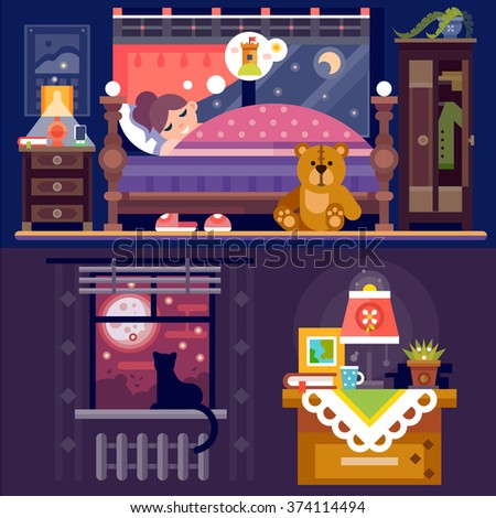 It's sleeping time! Dreaming girl in cozy bedroom full  of nice furniture and objects: table lamp, book, bed, teddy bear, cat on windowsill, cupboard, window with full moon. Flat vector illustration.  - stock vector