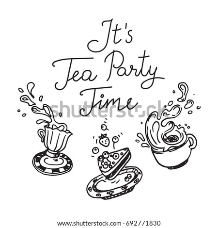 Its Tea Party Time Set 3 Stock Vector 692771830 - Shutterstock