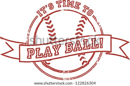 It's Time to Play Baseball Stamp - stock vector