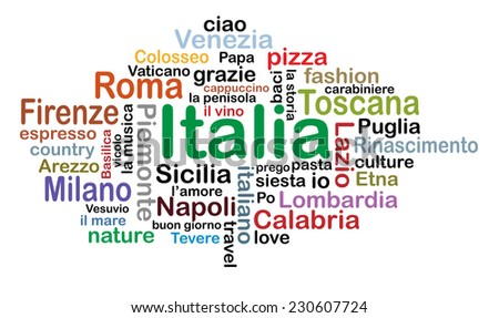 Italia concept vector tag cloud