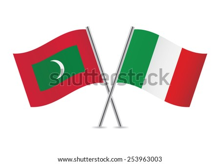 Italian and Maldives flags. Vector illustration.