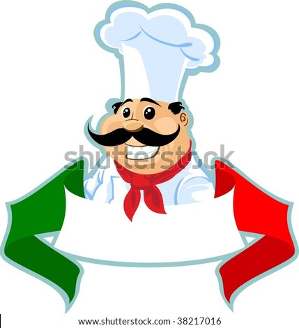 italian chef cook label - stock vector