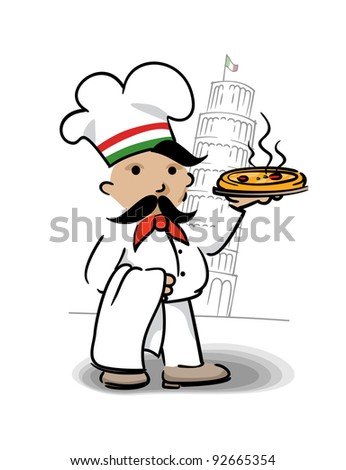 Italian chef with pizza - stock vector
