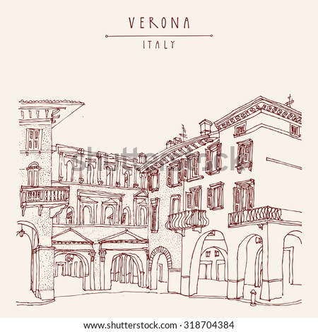 Italian city, Europe. Old historic buildings. Travel sketch. Vintage vector touristic postcard or poster - stock vector