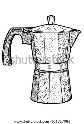 Italian Coffee Maker Illustration Drawing Engraving Ink Line Art Vector