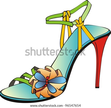 italian coloured sandal - stock vector