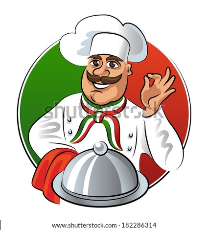 Italian cook showing okay sign with silver plate tray. Vector illustration isolated on a white background - stock vector