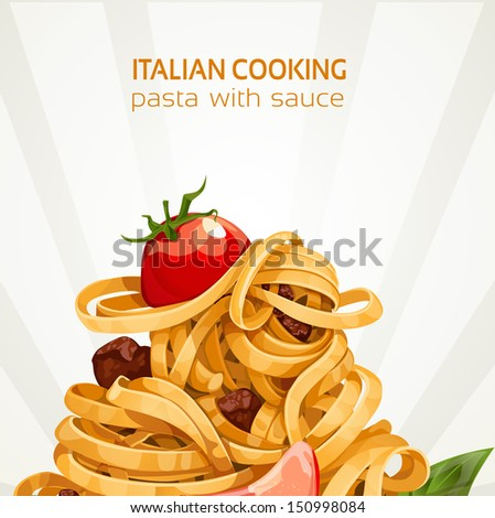 Italian Cooking pasta with sauce banner - stock vector