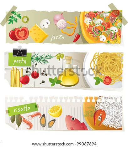 Italian cuisine dishes - pizza, pasta and risotto - stock vector