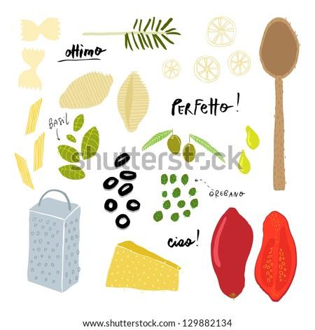 Italian cuisine ingredients - stock vector