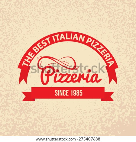 Italian cuisine Retro Vintage Labels Logo design. Hand drawn lettering with Spin the dough into the air and red ribbons on paper background. Best pizzeria since. - stock vector